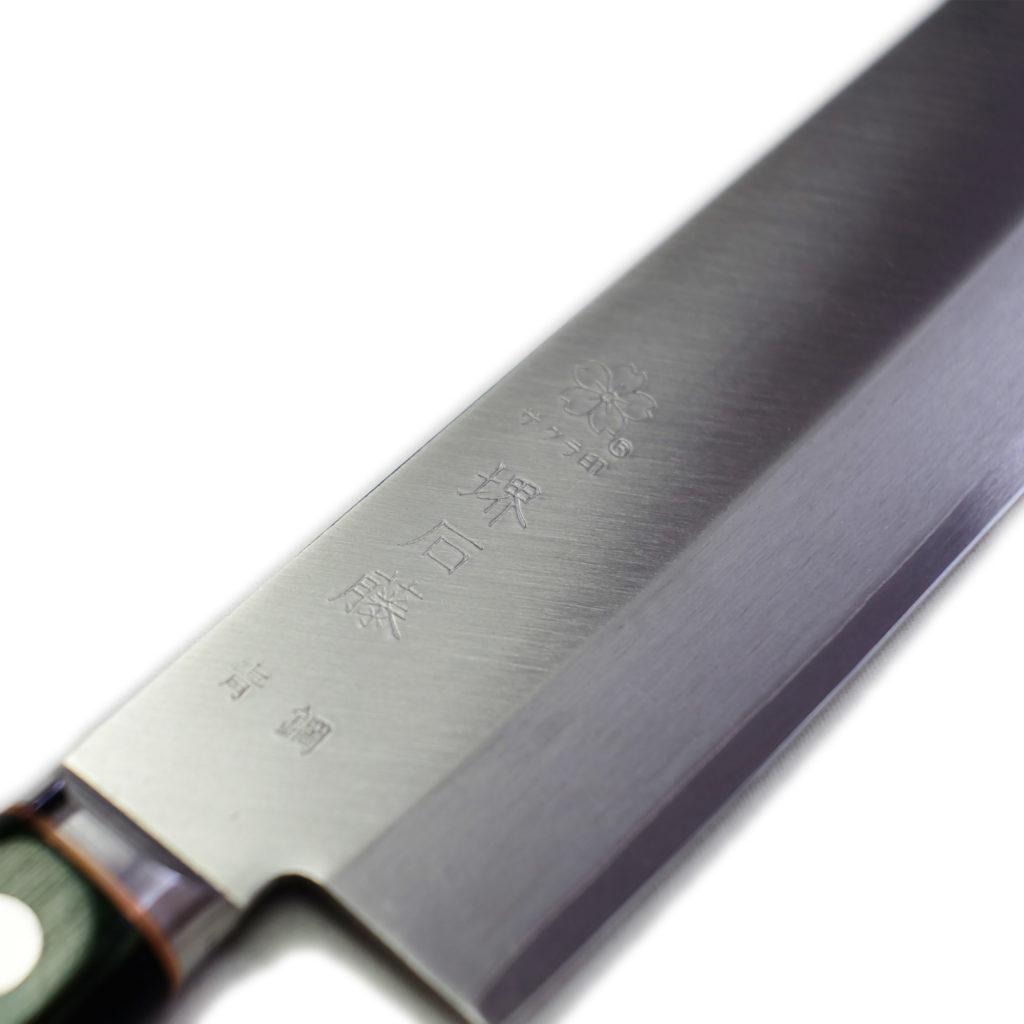 桜 堺石藤 青鋼 割込 薄刃 160mm 口金付き (菜切り包丁)-2
