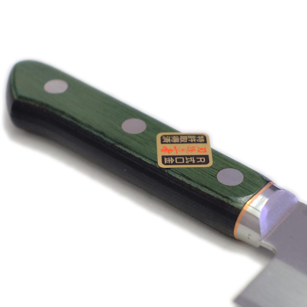 桜 堺石藤 青鋼 割込 薄刃 160mm 口金付き (菜切り包丁)-3
