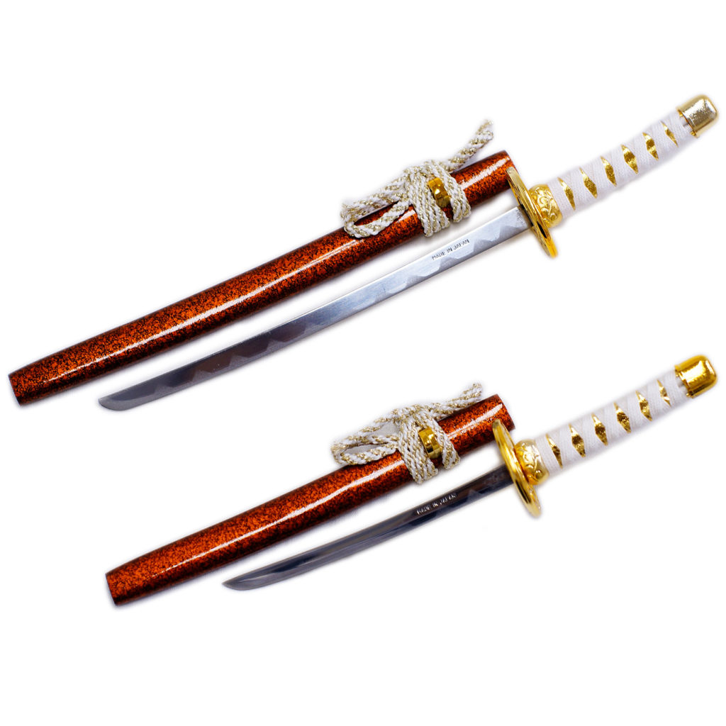 匠刀房 刀剣型ペーパーナイフ 金茶大小揃え 掛台付-2
