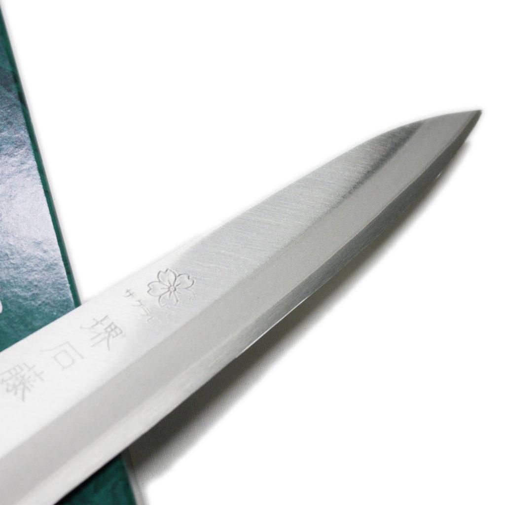 日本製 堺石藤 青鋼 割込 ペティナイフ 150mm 口金無し-3