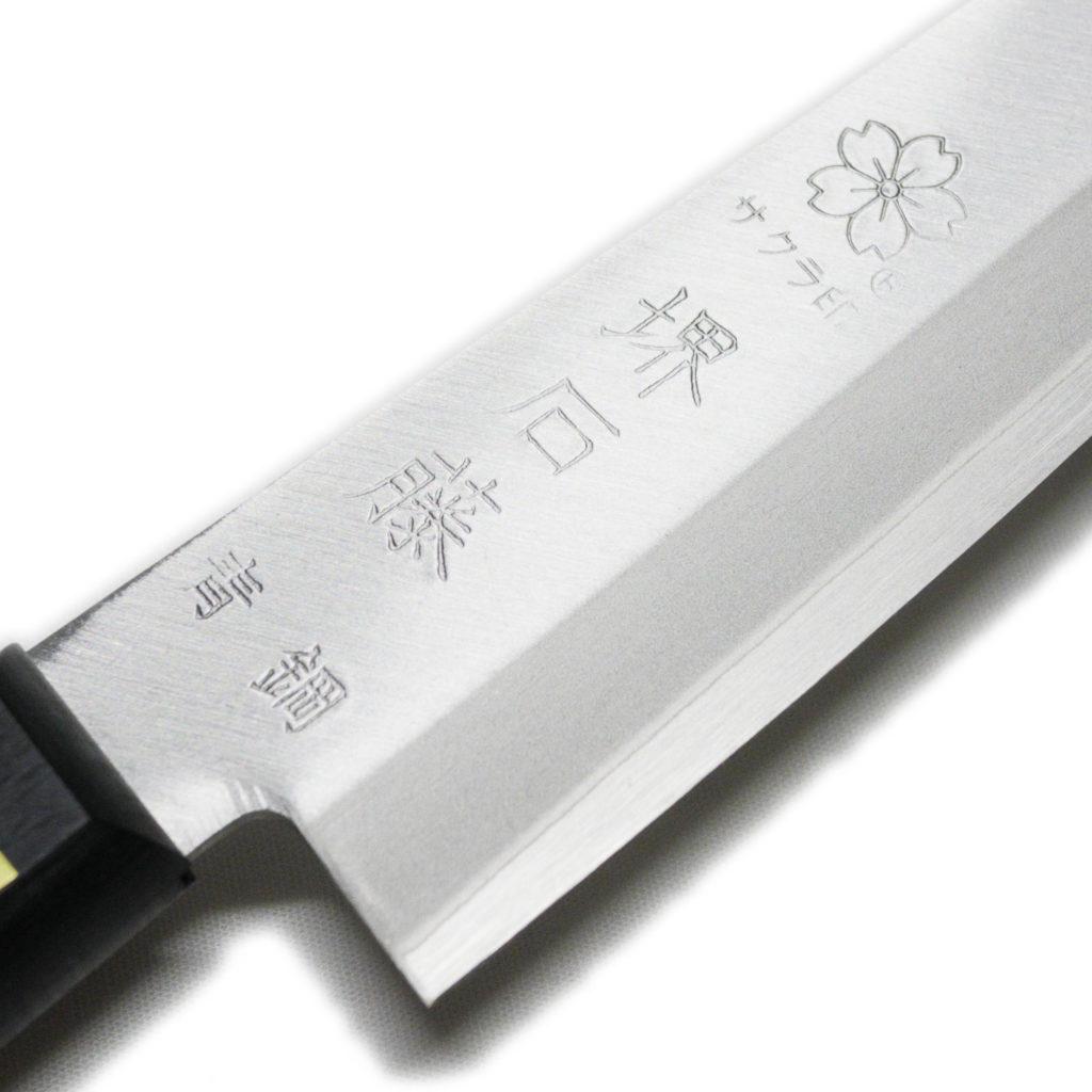 日本製 堺石藤 青鋼 割込 ペティナイフ 150mm 口金無し-4