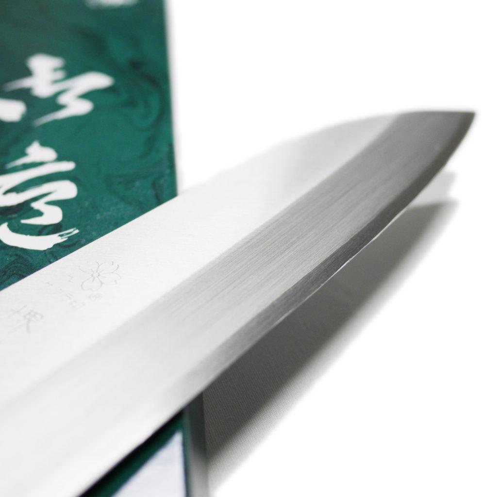 日本製 堺石藤 青鋼 割込 三徳包丁 170mm 口金無し-2