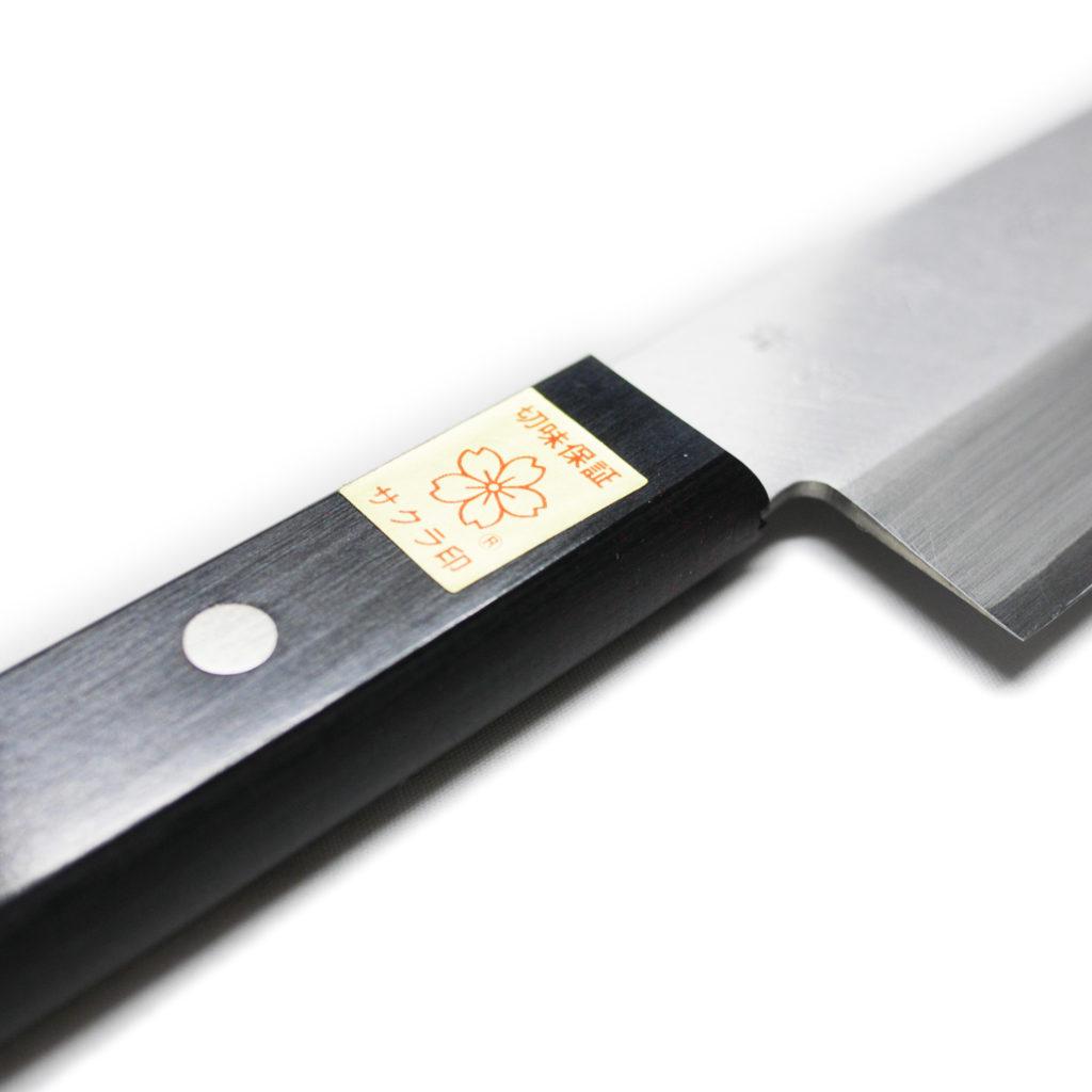 日本製 堺石藤 青鋼 割込 三徳包丁 170mm 口金無し-4