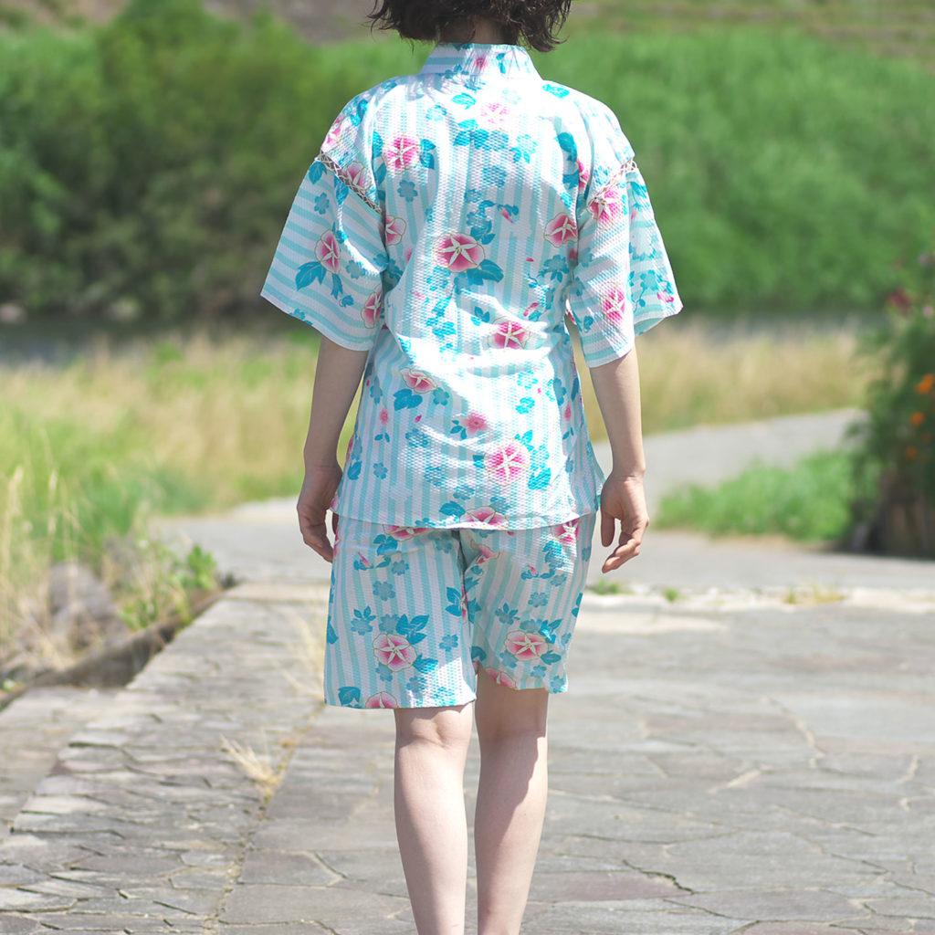 女性用 甚平 アサガオ柄ミント フリーサイズ-2