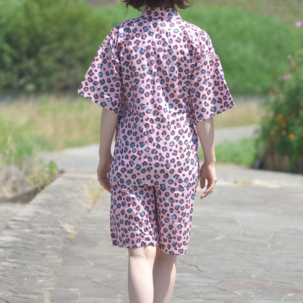 女性用 甚平 ヒョウ柄ピンク フリーサイズ-2