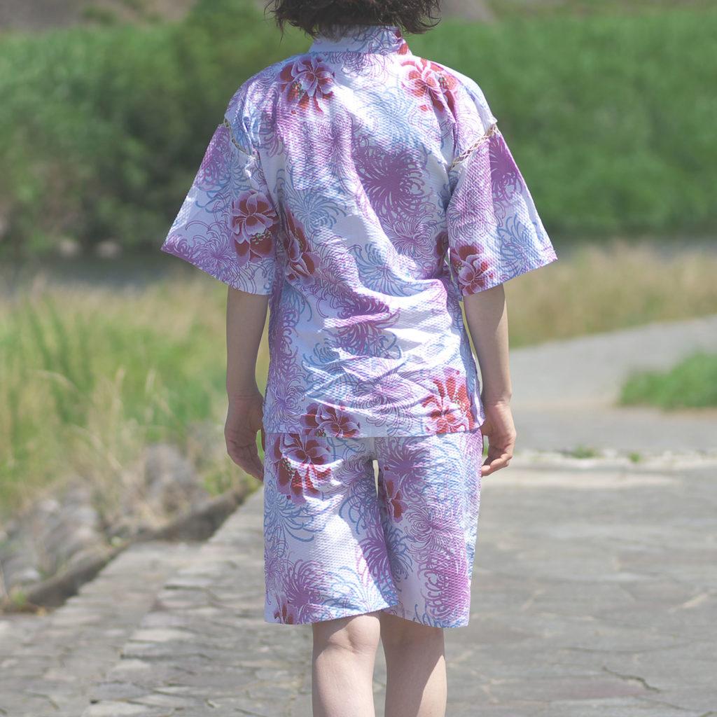 女性用 甚平 菊柄ピンク フリーサイズ-2