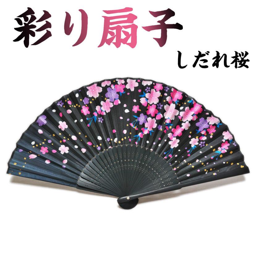 日本の美 彩り扇子 しだれ桜 - おみやげ-1